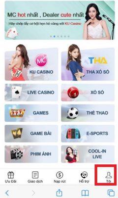 Giao diện app Thabet